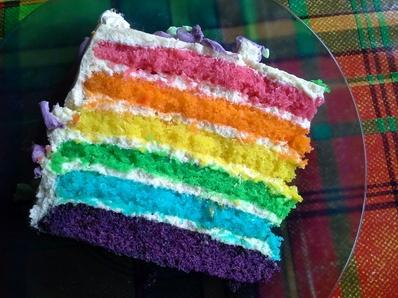 Торта с цветовете на дъгата.