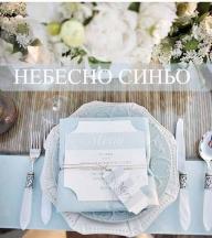 СВАТБА В НЕБЕСНО СИНЬО - Синята палитра е лека, въздушна и изразява спокойствие. Синият цвят символизира чистота, разум, постоянство и нежност. Ползвайки го в стилистиката на вашата сватба вие можете да изразите различни емоции: в съчетание със златно или сиво, небесносиният цвят ще изглежда елегантно и благородно; комбиниран с бяло, бежово или розово – игриво и кокетно. Синьото ще изпъкне в сечетание с жълто или оранжево и ще внесе освежаваща нотка като комбинация с червен цвят. - ИДЕИ ЗА ЦВЕТОВЕ НА СВАТБАТА
